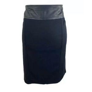 Dana Buchman Signature Leather trim pencil skirt